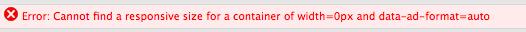 responsive ad size error