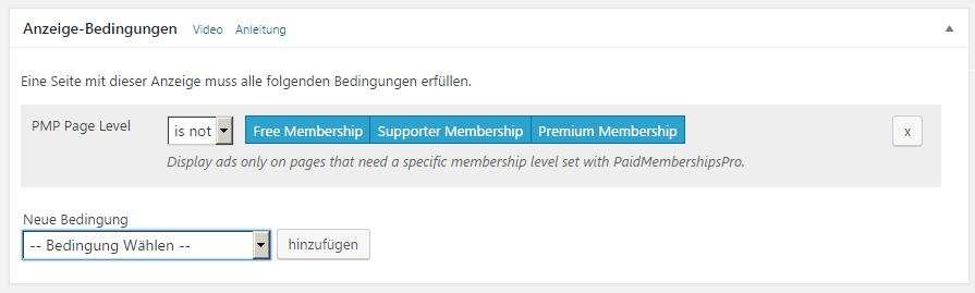 Anzeigebedingung zum Deaktivieren von Anzeigen auf Membership-Seiten