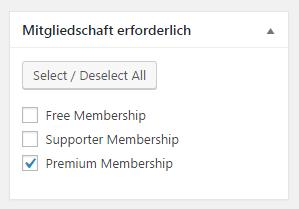Konfiguration des benötigten Memberships