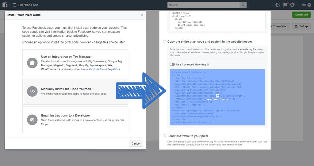 Facebook-Pixel erstellen und Code in die Zwischenablage kopieren