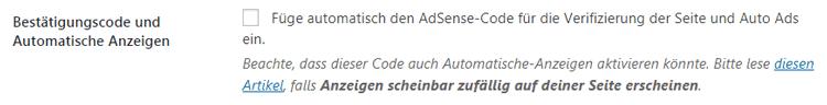 Aktivieren der Automatischen Anzeigen von AdSense