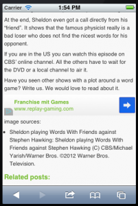 wep app screenshot with mobile ad