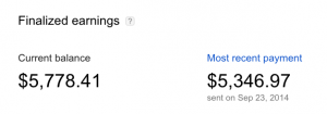 finalized earnings in AdSense