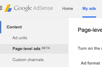 Page-level ads menu