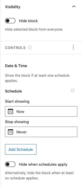 Block Visibility block options