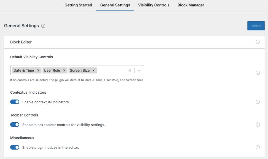 Block Visibility main settings