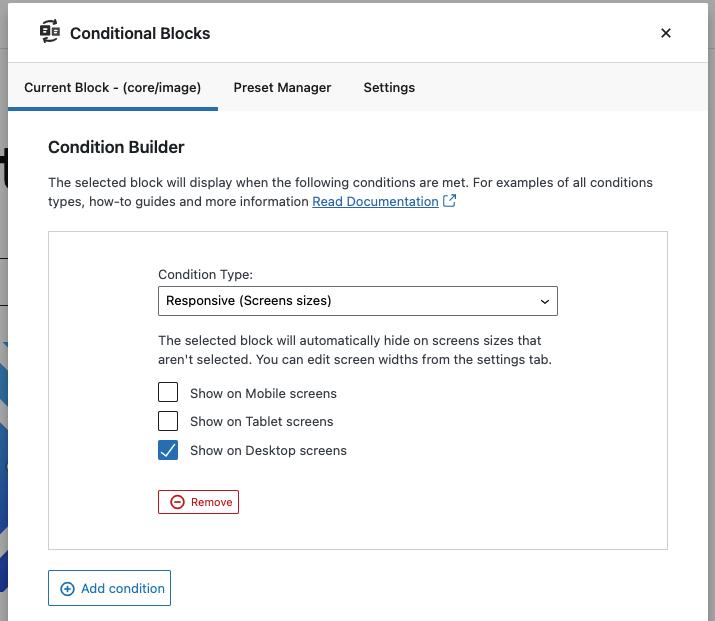Conditional Blocks settings