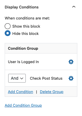 Wicked Block Conditions options in the block settings.
